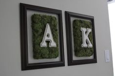 Textured Letters on a moss covered shoe box lid with a frame. From little things bring smiles Shoe Box Art, Shoe Box Lids, Art From Recycled Materials, Moss Letters, Letter Wall Art, Moss Art, Letter A Crafts, Diy Mirror, Diy Frame