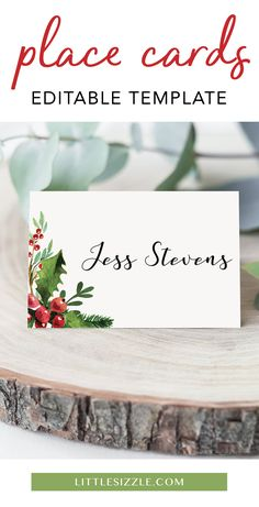Christmas Table Decor Printable Place Card Template Christmas table decorations place cards by LittleSizzle. Show your guests their place with Christmas Place Cards, Christmas Table Settings, Christmas Gift Tags, Christmas Menus, Christmas Tea, Christmas Templates, Christmas Printables, Party Printables, Floral Printables