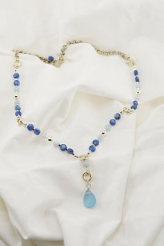 Single Chalcedony Topaz Blue Briolette Sterling by BruciaJewelry, $89.00