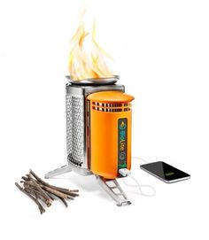 Biolite Camp Stove Wood Burner Cooking Hiking USB Charger Iphone Android IOS