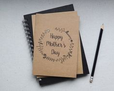 Mother's day card. Handmade Mothers day card. Floral wreath card. Wreath print. by MollycatCraftCo on Etsy