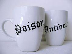 Coffee Mug  Black and White Hand Painted  Coffee by BurkeHareCo, $28.00