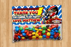 Personalized Megaforce Goody Bag Toppers by thePARTYBOTS on Etsy, $6.00