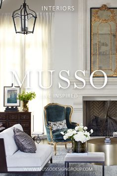 Interior design services offered by MUSSO are focused on a simple philosophy: Design elegant, comfortable, and timeless spaces that delight and inspire. Keywords: Christian Liaigre, french guilt mirror, mirror over mantle, metal coffee table, french antique chair, gilded gold, bronze bench, brass coffee table, iron pendant lantern, modern stone mantle, minimalist fireplace surround