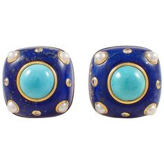 Trianon Lapis Turquoise Pearl Diamond Gold Earrings   From a unique collection of vintage clip-on earrings at https://www.1stdibs.com/jewelry/earrings/clip-on-earrings/
