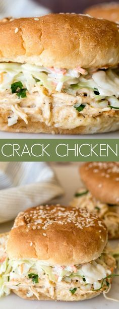 Simple and delicious creamy pull apart chicken served best as a sandwich. This c… Simple and delicious creamy pull apart chicken served best as a sandwich. This crack chicken recipe is made in an instant pot making it all the better! Pulled Chicken Recipes, Pulled Chicken Sandwiches, Chicken Sandwich Recipes, Crack Chicken, Instapot Recipes Chicken, Ip Chicken, Simple Chicken Recipes, Chicken Breast Instant Pot Recipes, Sandwich Ideas