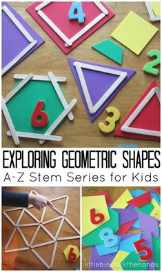 (Great activities to do with kids to learn or reinforce shapes). Shape Math Activities for Kids - So many fun ways for preschool, kindergarten, grade, and grade kids to explore geometric shapes in this stem activities for kids. Math Activities For Kids, Math For Kids, Kids Learning, Learning Shapes, Math Activities For Preschoolers, Math Activities For Toddlers, Addition Activities, Preschool Shape Activities, Stem Preschool