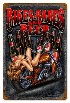 Vintage and Retro Wall Decor - JackandFriends.com - Vintage Bikes Babes Beer  - Pin-Up Girl Metal Sign, $39.97 (http://www.jackandfriends.com/vintage-bikes-babes-beer-metal-sign/)