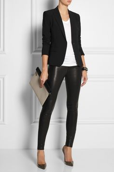 T by Alexander Wang top, Eddie Borgo cuff, Fendi cuff, J Brand jeans, Christian Louboutin shoes, Victoria Beckham clutch.