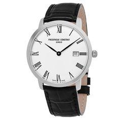 Frederique Constant Men's FC-306MR4S6 'Slim Line' Dial Black Strap Swiss Automatic Watch