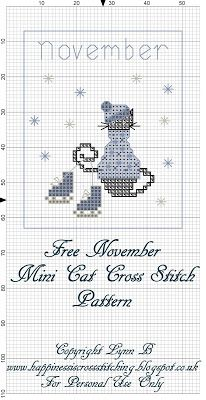 Happiness is Cross Stitching : Mini Cat Cross Stitch Freebies November