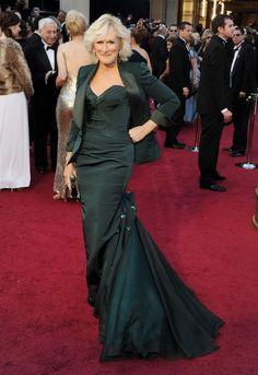 Glenn Close, in Zac Posen with Bulgari jewels.  (Oscars 2012)