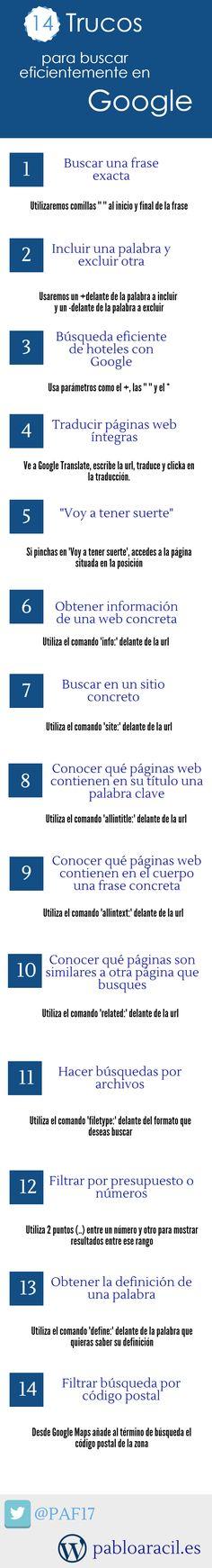 Hola: Una infografía con 14 trucos pra buscar eficientemente en Google. Vía Un saludo