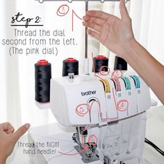 Brother Serger How To Thread A Serger Step 2 Sewing Blogs, Sewing Hacks, Sewing Crafts, Sewing Tips, Sewing Tutorials, Sewing Ideas, Serger Projects, Sewing Projects, Costura Serger