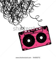Audiocassette tape with tangled. Vector illustration. - stock vector