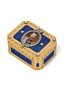 an important jewelled vari-coloured gold and guilloché enamelled Imperial presentation snuff-box, marked Fabergé, with the workmaster's mark of Henrik Wigström. It was presented to the Turkish diplomat, Turkhan Pasha (1846-1927), in December 1913 on behalf of Emperor Nicholas II probably to commemorate the end of his five year ambassadorship in St. Petersburg.
