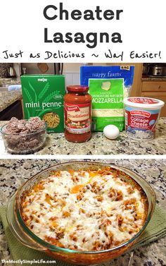Cheater Lasagna Love this easy and quick family dinner It takes way less time than classic lasagna and tastes just as good Its on my list of freezer meals too Its perfec. Quick Easy Dinner, Quick Dinner Recipes, Quick Easy Meals, Quick Cheap Dinners, Cheap Meals For Dinner, Cheap Simple Meals, Easy Dinners, Easy Cheap Desserts, Cheap Food