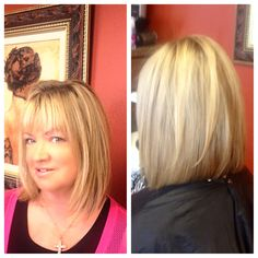 Long bob with light layers,  slightly inverted.  Great for fine, straight hair.