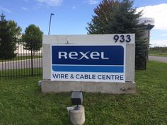 Rexel Wire and Cable exterior signs sized at 4' x 8' on 3mm aluminium composite material and laminated for UV protection completed by Speedpro Signs KIngston.