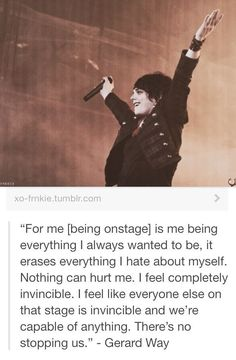 Gerard Way quote Mcr Quotes, Mcr Memes, Band Quotes, Band Memes, Music Quotes, Gerard Way, Emo Bands, Music Bands, My Chemical Romance