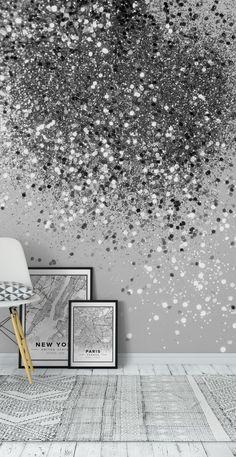 Glitter Wallpaper Bedroom, Glitter Bedroom, Accent Wallpaper, Home Wallpaper, Glitter Accent Wall, Glamour Decor, Accent Wall Bedroom, Master Bedroom, Family Wall Decor