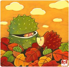 atxim-estornuda-la-castanya-refredada, cute! a tiny girl in a green chestnut peeking out at a hedgehog with autumn leaves & acorns all around them