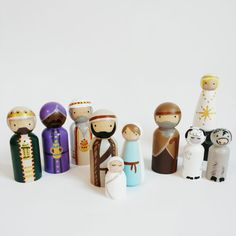 Peg Doll Nativity Set // Christmas Pegs // Wooden Nativity set // Christmas Story // Birth of Jesus // Bible story peg dolls Wooden Nativity Sets, Nativity Crafts, Wooden Pegs, Christmas Nativity, Christmas Wood, Christmas Crafts, Christmas Decorations, Kids Nativity Set, Wood Peg Dolls