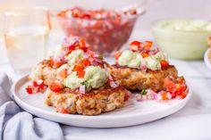 Chicken Cakes With Avocado Mayonnaise And Tomato Salsa Recipe - Genius Kitchensparklesparkle