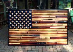 Baseballs and Bats American flag