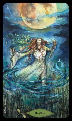 Tarot Cards Major Arcana, The Moon Tarot, Oracle Cards, Moon Art, Tarot Decks, Artist Art, Fantasy Art, Illustration, Moonlight