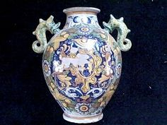 This item is a Venetian Wet Drug jar, A very large one in ovoid form and maybe unique with the seamonster handles. This would have loosened up the glaze over time and then the owners before me wiped it as if it were glass thereby causing the loss and explaining why that area does not look too aged as opposed to the other more common areas of loss such as the foot or the lip where the exposed areas have aged nicely. | eBay!