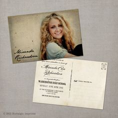Vintage Graduation Invitation Announcement - the Miranda. $38.00, via Etsy.