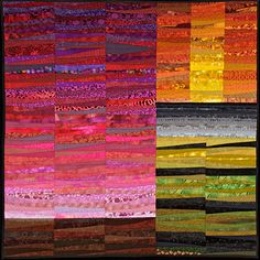 Quilted wall hanging. Scenes from a summer. 45x45 by AnnBrauer. #artquilt #magenta