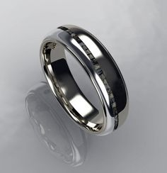 Two tone men's wedding band - CAD