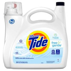 Tide Ultra Concentrated Free & Gentle HE Liquid Laundry Detergent, 158 loads, 208 fl oz Free of Dyes & Perfumes Dermatologist Recommended Accepted by the National Eczema Association Recognized by the National Psoriasis Foundation Tide Laundry Detergent, Dishwasher Detergent, Cleaning Hacks, Cleaning Supplies, Cleaning Products, Tide Free And Gentle, Foundation Brands