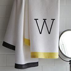 Monogram for the boys! Waffle Stripe Hand Towel
