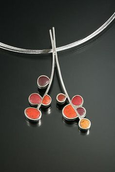 """Red Split Branch"" - Silver & Polymer Necklace - by Lou Ann Townsend and Mary Filapek"