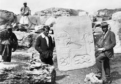 T E Lawrence (1888-1935) T E Lawrence with Leonard Woolley, the archaeological director, with a Hittite slab on the excavation site at Carchemish near Aleppo, in 1912-1914.