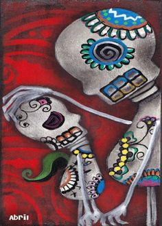 Love Print of Painting day of the Dead latin Art dia de los Muertos