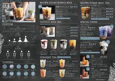 Drink Menu Design, Menu Board Design, Cafe Menu Design, Bubble Tea Menu, Bubble Tea Shop, Bubble Milk Tea, Milk Tea Recipes, Coffee Recipes, Cafe Menu Boards