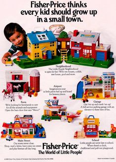 Look back at these vintage Fisher-Price Little People play sets & remember the good ol' days - Click Americana Fisher Price Toys, Vintage Fisher Price, Vintage Advertisements, Vintage Ads, Vintage Stuff, Childhood Toys, Childhood Memories, 80s Ads, Ol Days