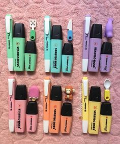 Stabilo markers - Home School Stationary Supplies, Stationary School, Cute Stationary, School Stationery, Stationary Organization, Notebook Stationery, School Suplies, Stabilo Boss, Back To School Supplies