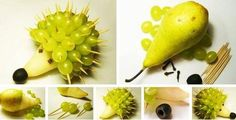 Cute and yummy hedgehog made of one pear, grapes and one black olive.