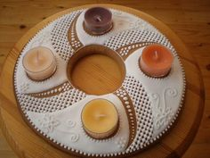 Medovnik Wooden Christmas Trees, Christmas Gingerbread, Christmas Cookies, Advent Wreath, Ginger Bread, Panna Cotta, Candle Holders, Wreaths, Candles