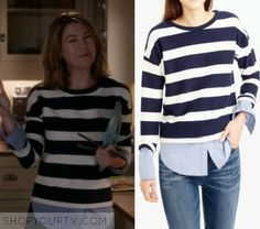Meredith Grey (Ellen Pompeo) wears this black and white striped sweater with blue shirt underneath in this episode of Grey's Anatomy. It [...]