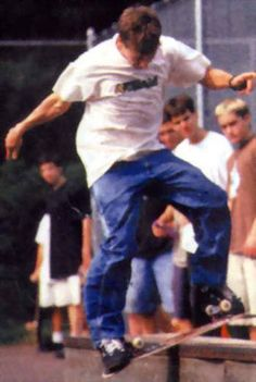 this is rodney mullen doing a darkslide and he revolutionized skateboarding and hes really old