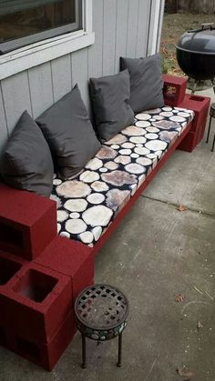 Just finished my cinder block outdoor couch inspired by Pinterest! 12 cinder blocks, 2 cans of spray paint, 3 eight foot 4x4s, plywood, foam cushioning, fabric, and a staple gun is all you need! - Sunnie