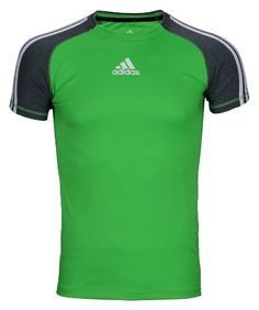 10e93bcf2080 Adidas Boys Athletic Performance Climalite TShirt Large 1416 Lime  GreenMedium Gray   Check this awesome product