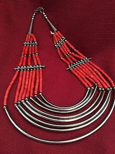 Southwest Sterling Silver and Red Coral Necklace Hand Crafted
