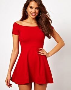 Off the shoulder, red bell dress. Flirty and fun for Valentines Day.